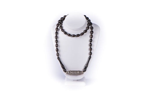 KRYSTYNE GRIFFIN - NECKLACE - ANTIQUE BLACK CORAL BEADS AND SILVER