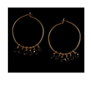 Azki Hoop earrings - Black Spinel