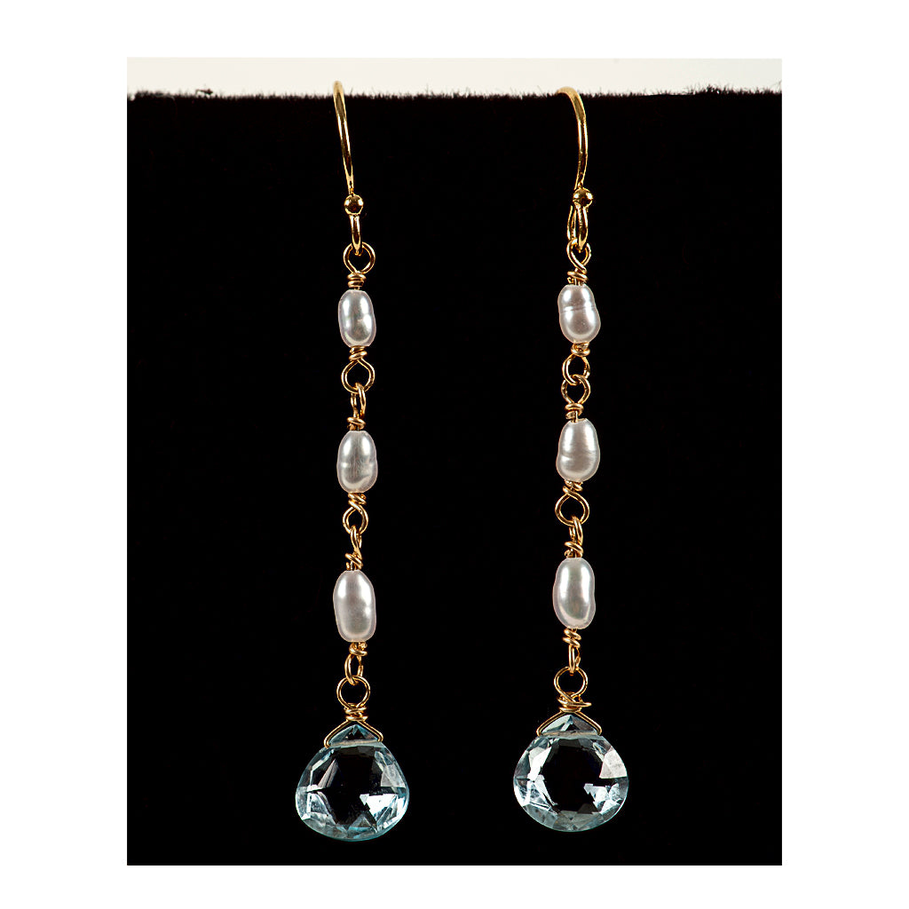 Azki Jewelry - Long Dangles-Blue Topaz and Pearls