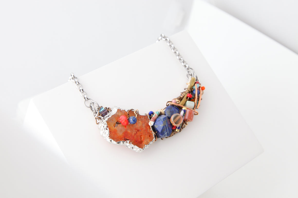 Farheen Ali: Crescent Necklace with Lapis and Orange Agate