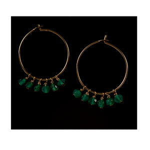 Azki-Hoop earrings - Green onyx