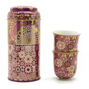Tin Box with 2 Coffee Cups - Pink Moucharabieh