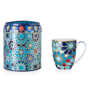 Tin Box with Mug - Blue Moucharabieh