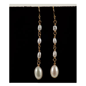 Azki Jewelry - Long Dangles-White Pearls