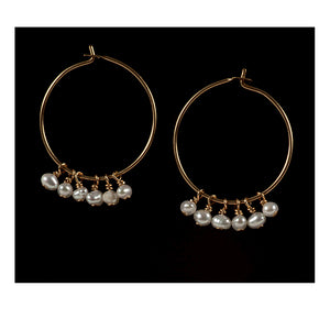 Azki-Hoop earrings - Pearls