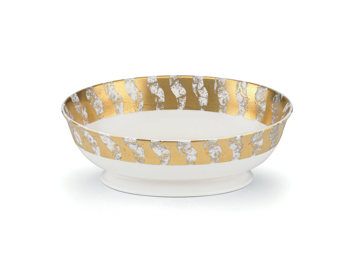 Gold Oval Serving Bowl