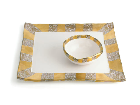 GOLD SQUARE TRAY WITH BOWL – STRIPED