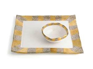 GOLD SQUARE TRAY WITH BOWL
