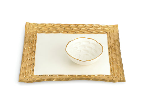 GOLD SQUARE TRAY WITH BOWL – TEXTURED