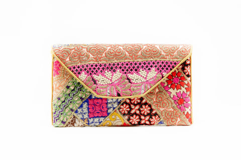 JINI ISRANI HAND-EMBROIDERED CLUTCH - LARGE