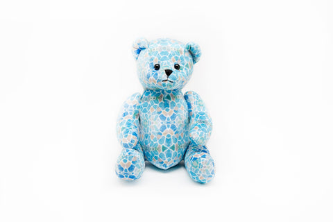 JUMA PATTERNED TEDDY BEAR - BLUE