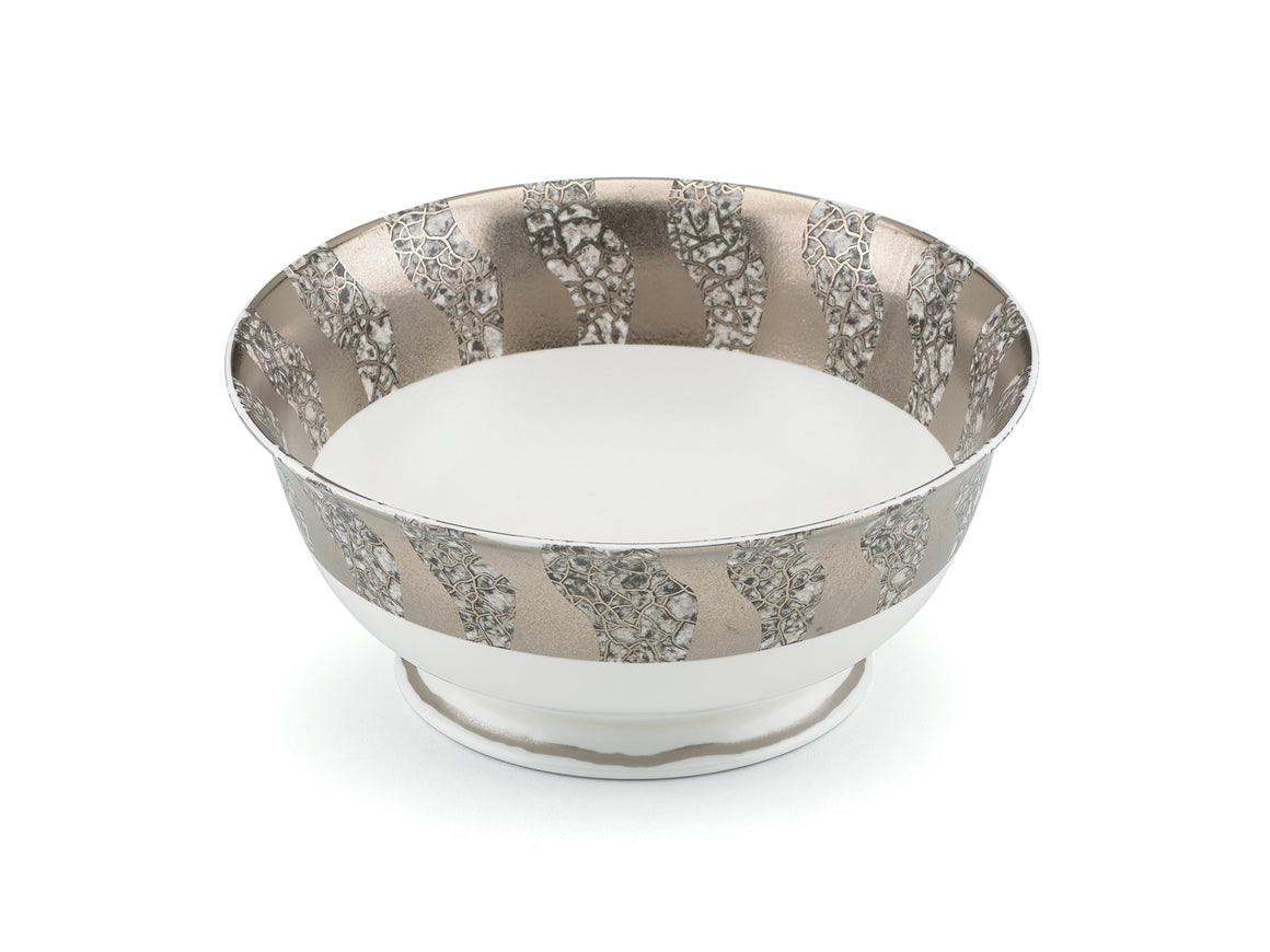 Gold Decal Round Serving Bowl