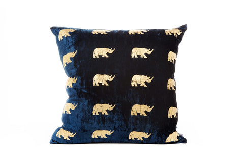 VELVET RHINO CUSHION - LARGE BLUE