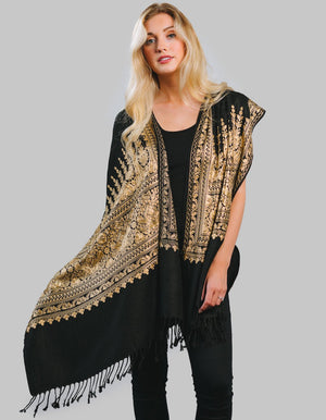 Rajasthani  Black Rich Gold Embroidered Shawl-ST-102