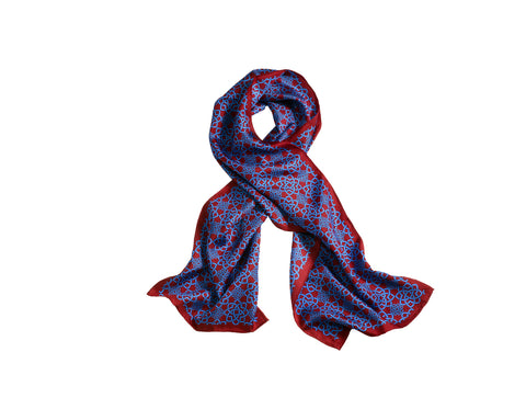AGA KHAN MUSEUM MONOGRAMMED SCARF - MAROON AND BLUE