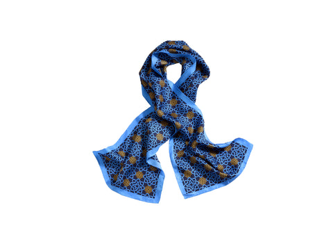 MONOGRAMMED SCARF - BLUE AND GOLD