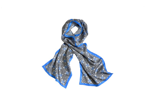 AGA KHAN MUSEUM MONOGRAMMED SCARF - BLUE AND BLACK