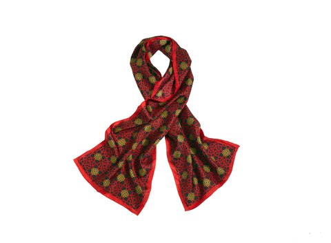 MONOGRAMMED SCARF - RED AND GOLD
