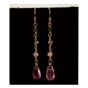Azki Jewelry - Long Dangles-Watermelon Tourmaline