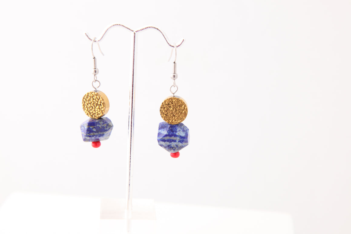 Farheen Ali: Lapis and Gold Hematite Earring