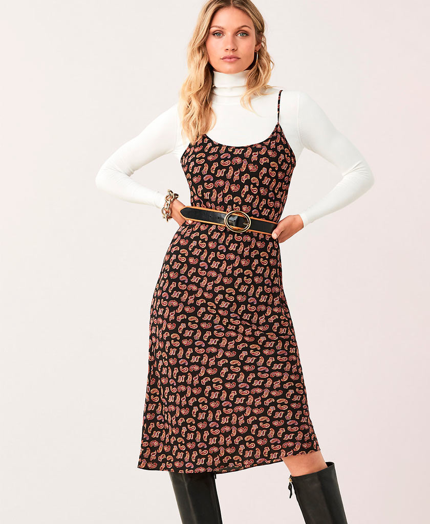 Model wearing DVF Andi dress
