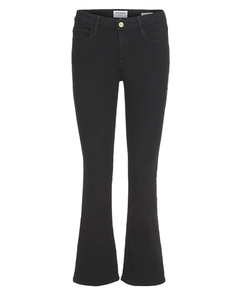 FRAME Le Crop Mini Boot Black cropped boot cut jeans made from cotton