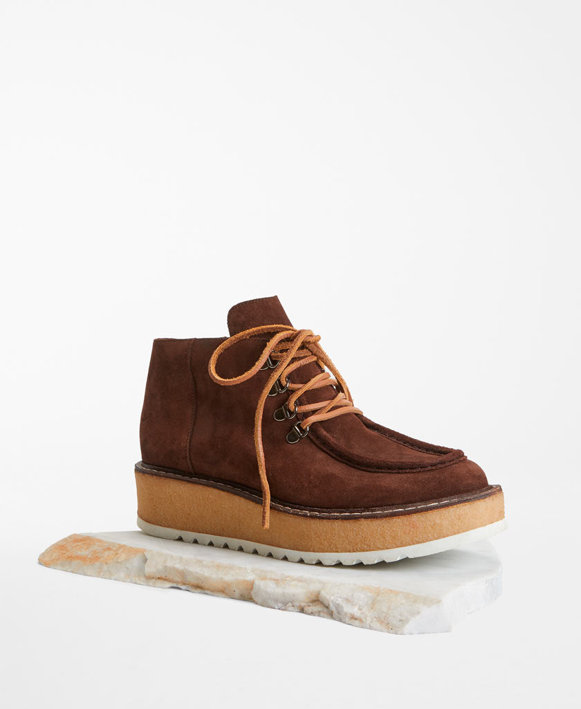 MAX MARA WEEKEND Cantico  Brown suede leather boots with camel brown shoe laces and sole for women