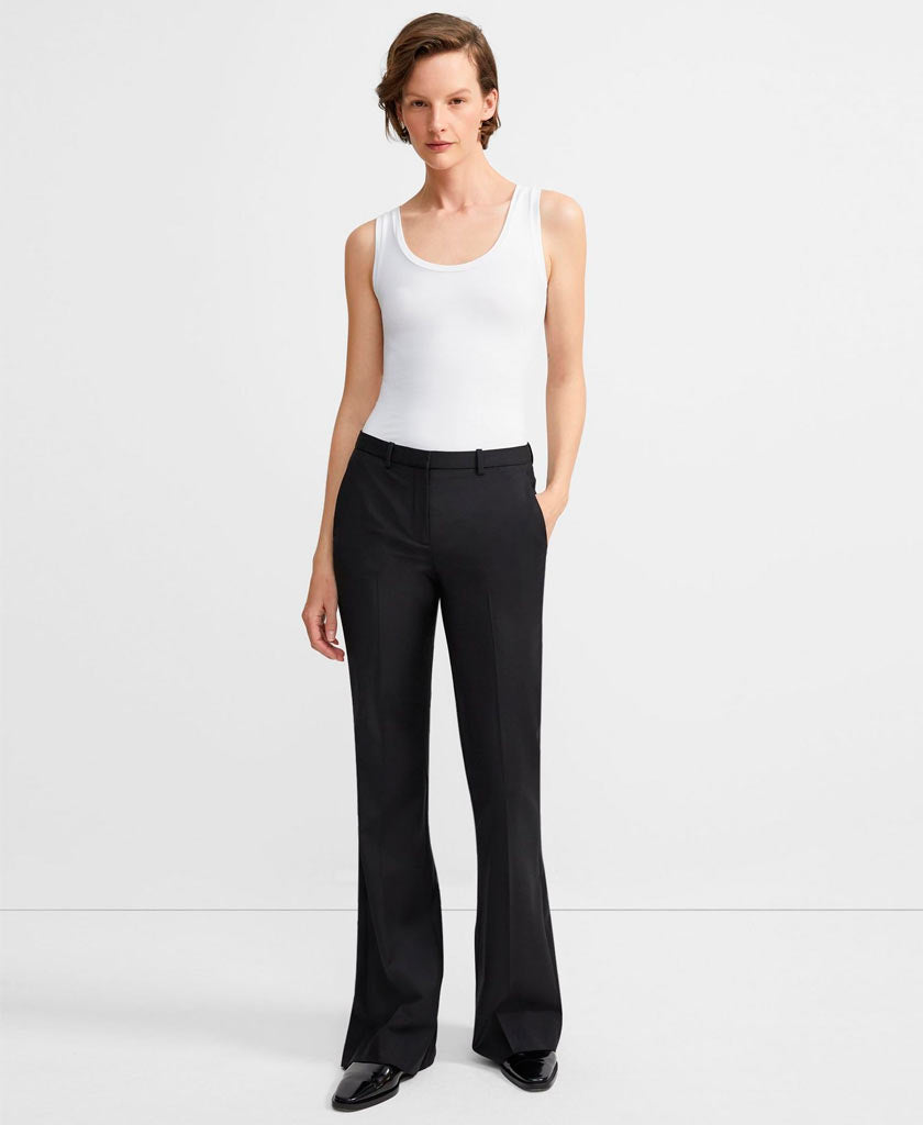 THEORY Black straight legged pants for women with low rise flare