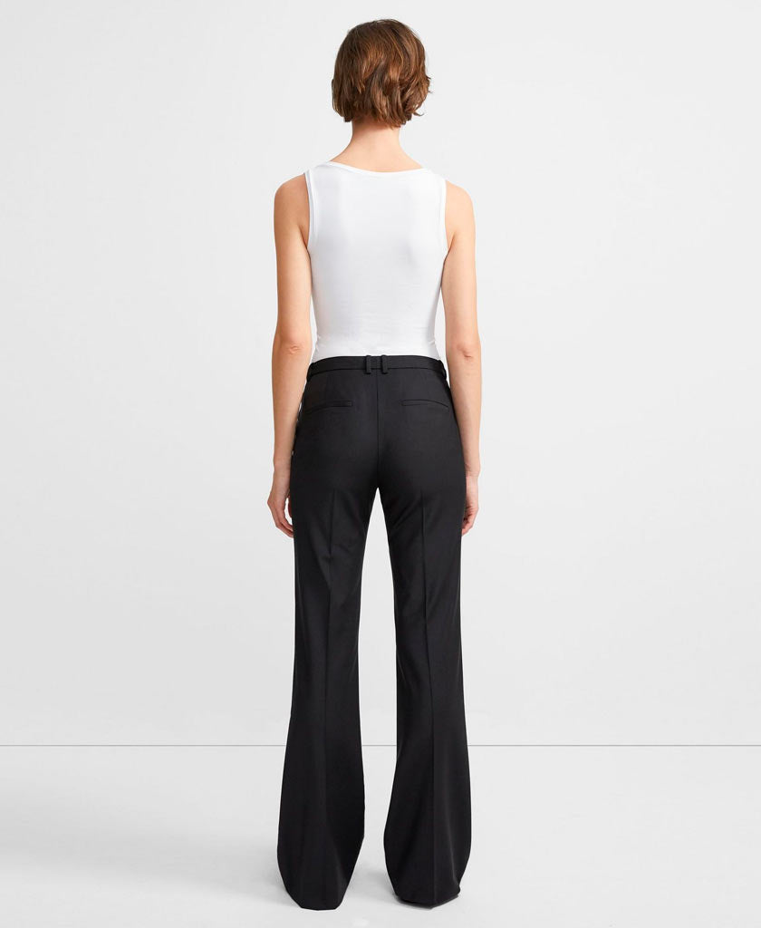 THEORY Black straight legged trousers with low rise and belt loops