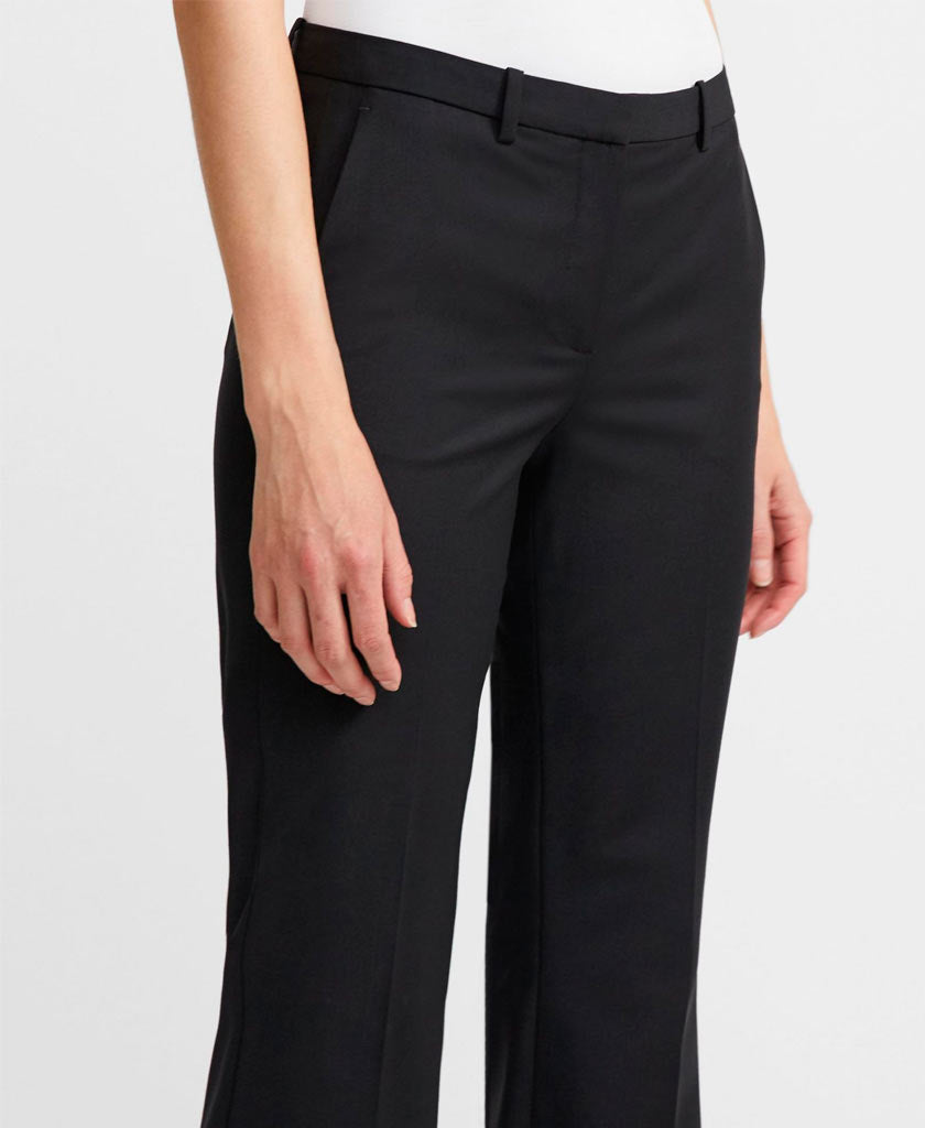 THEORY  Black straight legged theory trousers with low rise and belt loops