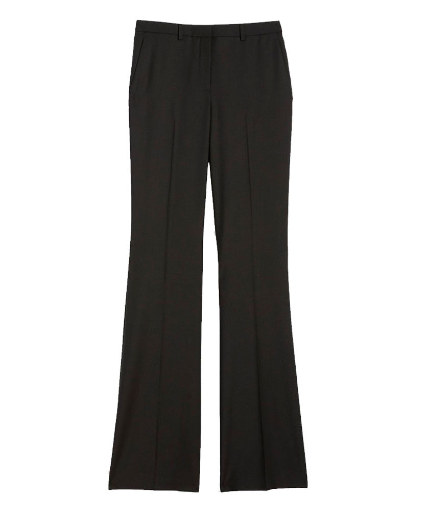 THEORY Black straight legged trousers with low rise flare