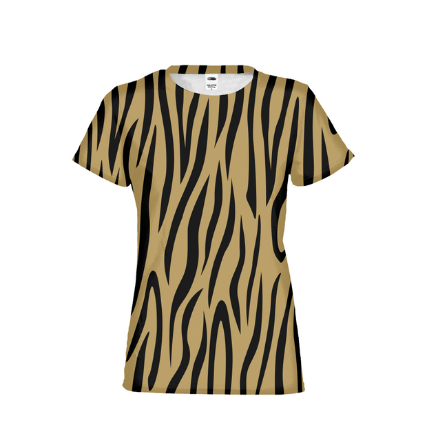 Gold Zebra Stripes Ladies All-Over Tee | G.O.A.T. GRAPHICS