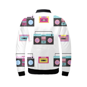 Boombox Pattern Ladies Bomber Jacket | G.O.A.T. GRAPHICS