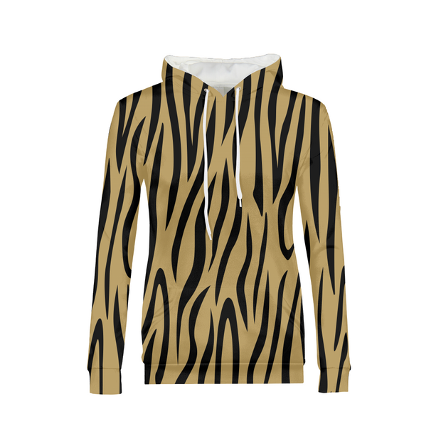 Gold Zebra Stripes Ladies All-Over Hoodie | G.O.A.T. GRAPHICS