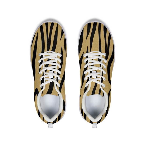 Gold Zebra Stripes Running Shoes | G.O.A.T. GRAPHICS