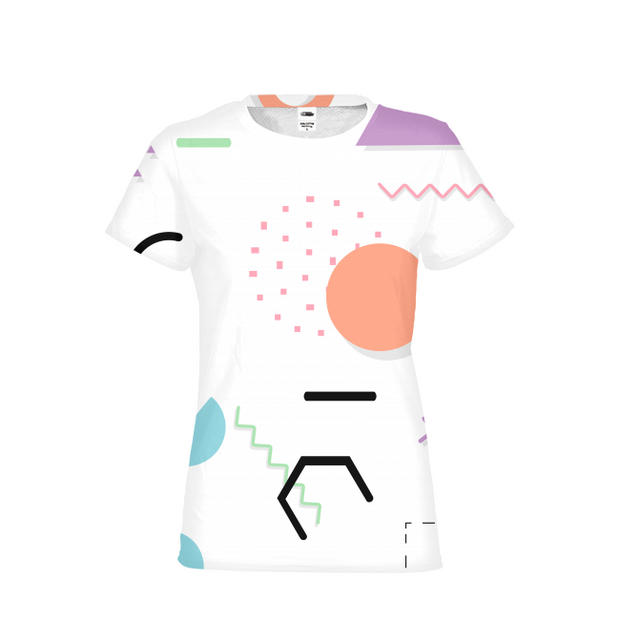Neon Shapes Ladies All-Over Tee | G.O.A.T. GRAPHICS