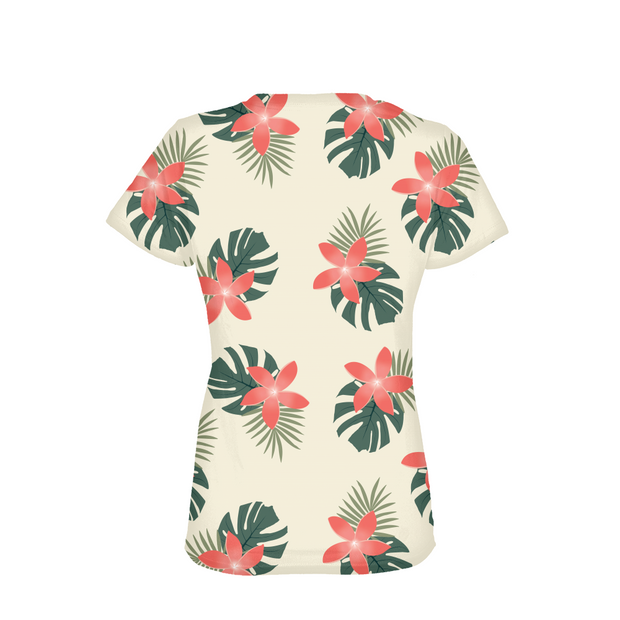 Aloha Breeze Ladies Cream All-Over Tee | G.O.A.T. GRAPHICS