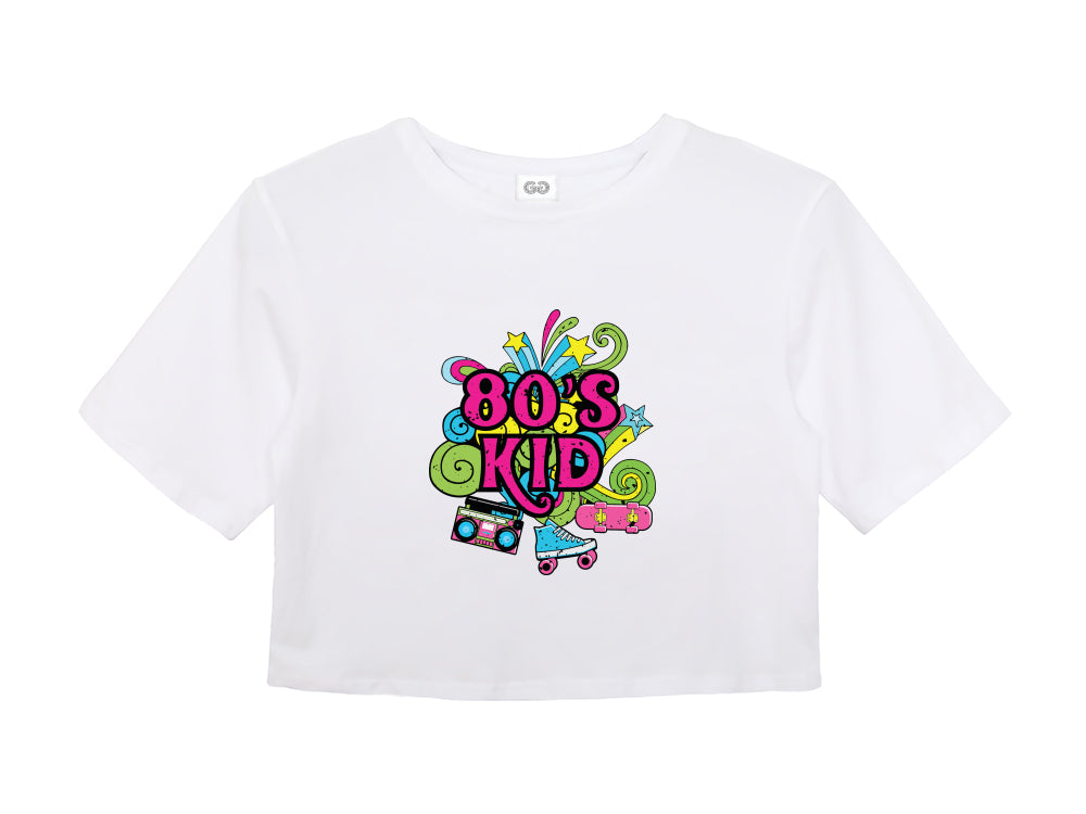 80's Kid Ladies White Crop Top