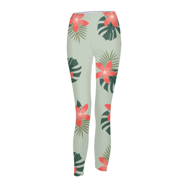 Aloha Breeze Womens Green Leggings | G.O.A.T. GRAPHICS