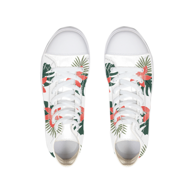 Aloha Breeze White High Tops | G.O.A.T. GRAPHICS