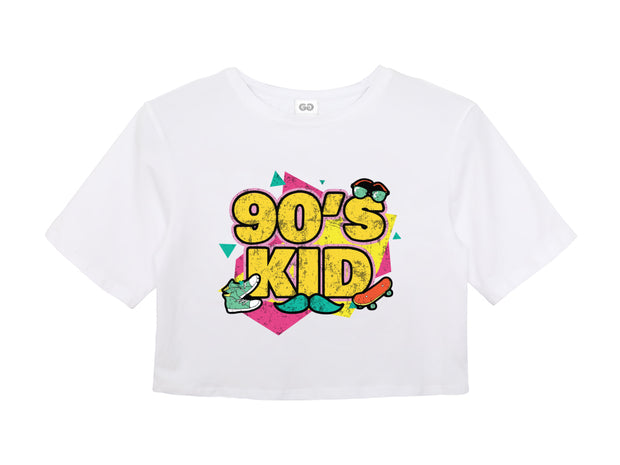 90's Kid Ladies White Crop Top | G.O.A.T. GRAPHICS