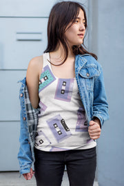 Cassette Tapes Pattern Ladies All-Over Tank | G.O.A.T. GRAPHICS