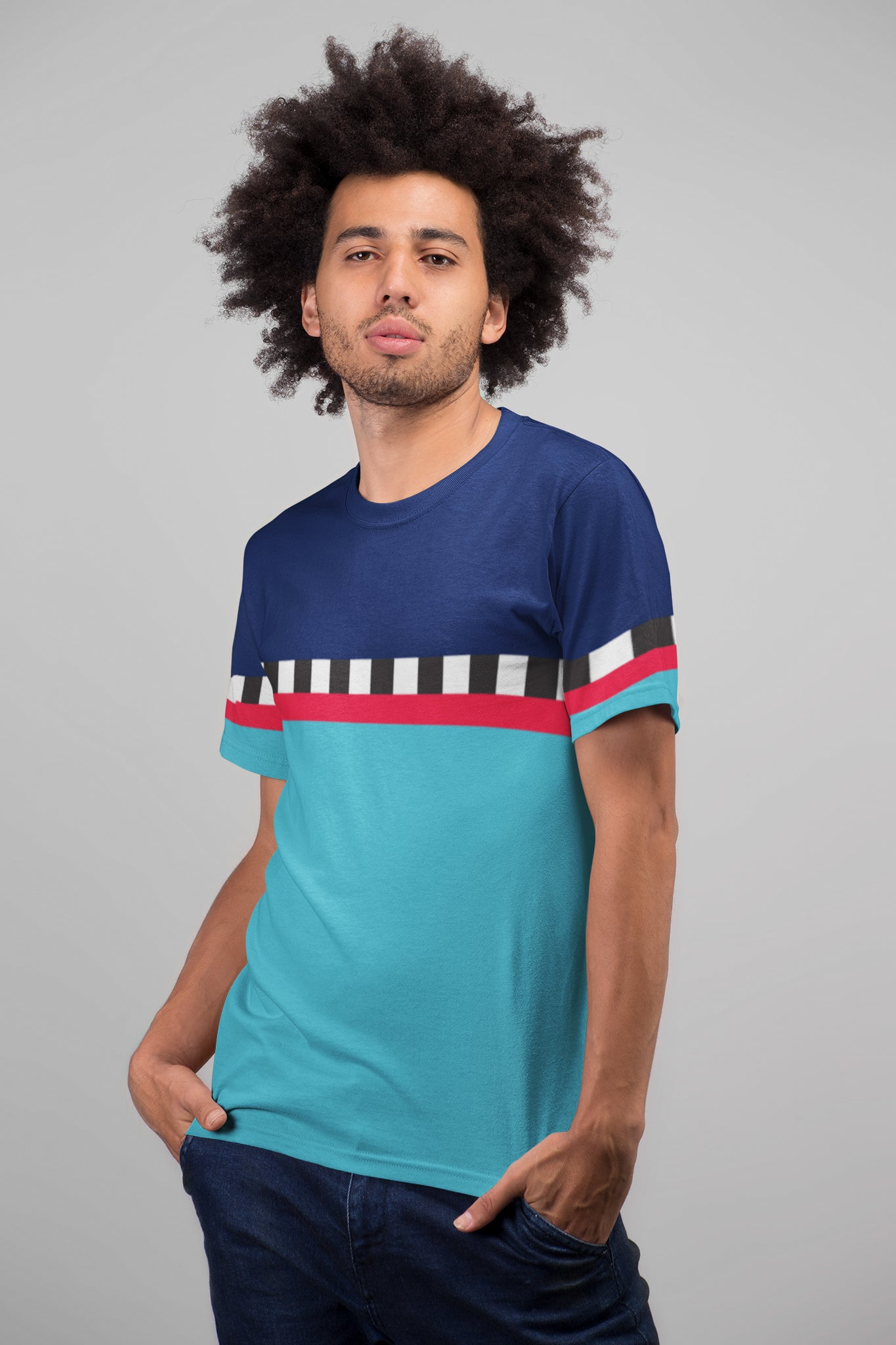 Hit the Slopes: Blue Horizon Mens All-Over Tee