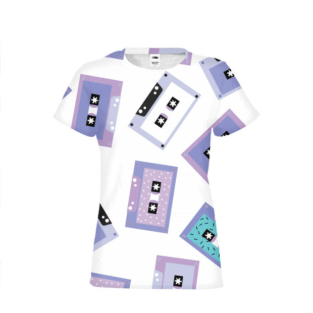 Cassette Tapes Pattern Ladies All-Over Tee | G.O.A.T. GRAPHICS