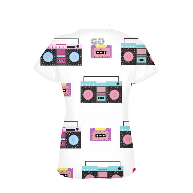 Boombox Pattern Ladies All-Over Tee | G.O.A.T. GRAPHICS