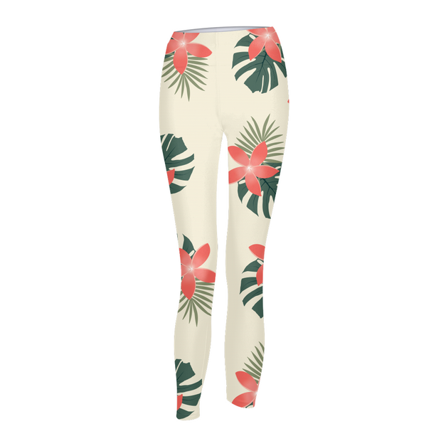 Aloha Breeze Womens Cream Leggings | G.O.A.T. GRAPHICS