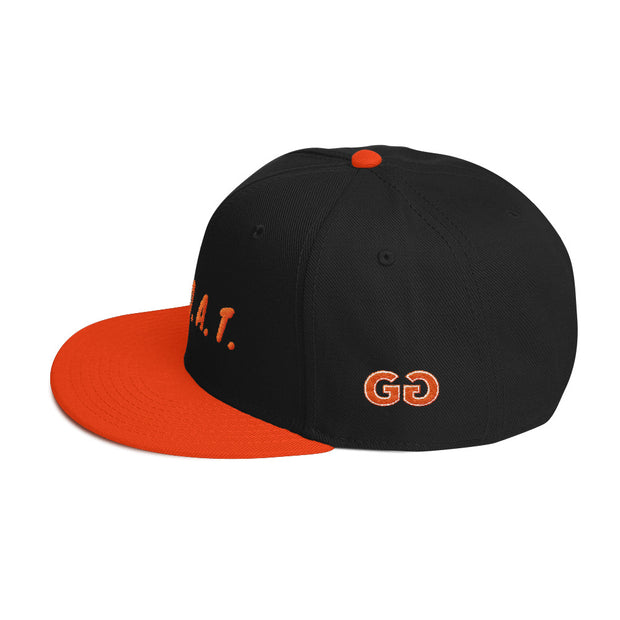 G.O.A.T. Black/Orange Snapback | G.O.A.T. GRAPHICS