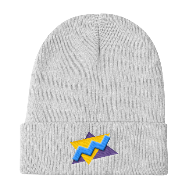TwistedTriangles White Beanie | G.O.A.T. GRAPHICS