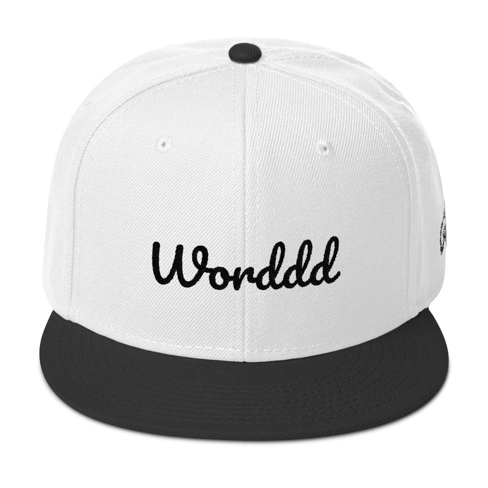 Worddd White/Black Snapback