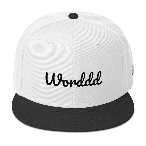 Worddd White/Black Snapback | G.O.A.T. GRAPHICS